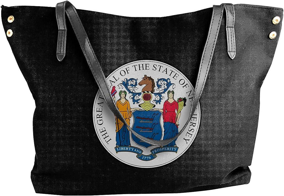 New Jersey Emblem Womens Tote Bags Canvas Shoulder Bag Casual Handbags
