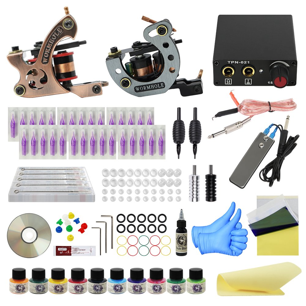 Wormhole Tattoo Complete Tattoo Kit for Beginners Tattoo Power Supply Kit 10 Tattoo Inks 30 Tattoo Needles 2 Pro Tattoo Machine Kit Tattoo Supplies TK1000020 Ltd