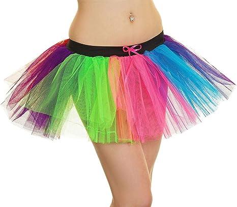 FashioN HuB Falda tutú de 3 Capas con diseño de Payaso arcoíris ...