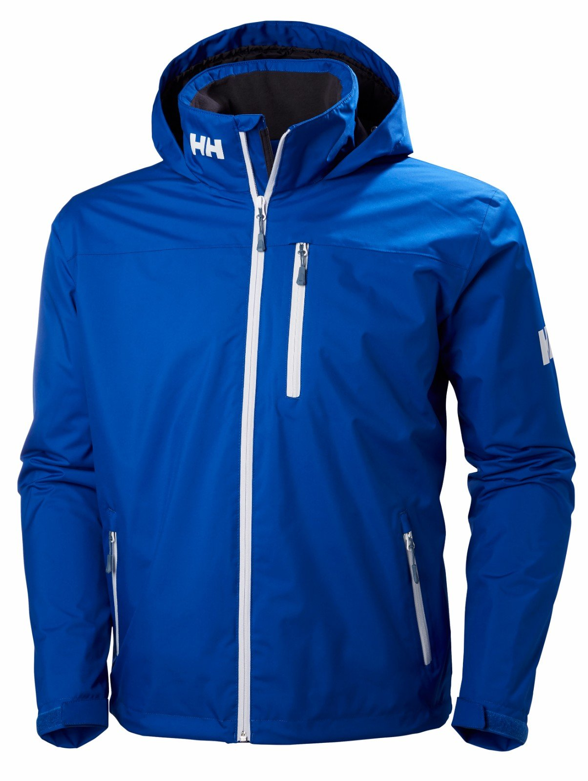 Helly Hansen Men's Crew Midlayer Fleece Lined Waterproof Windproof Breathable Sailing Rain Coat Jacket with Stowable Hood, 563 Olympian Blue, Small by Helly Hansen
