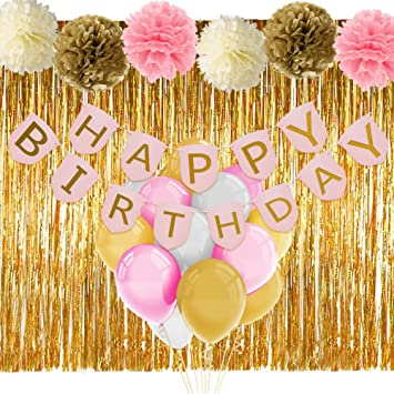 Amazoncom Pink and Gold Birthday Decorations with Banner Balloons