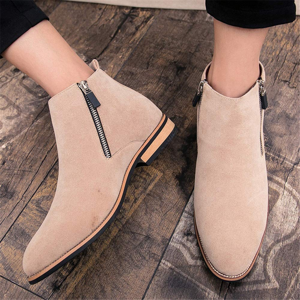 MUMUWU Mens Ankle Boots Flat Heel Side Zipper Decoration Suede Vamp Solid Color Shoes Winter Boots