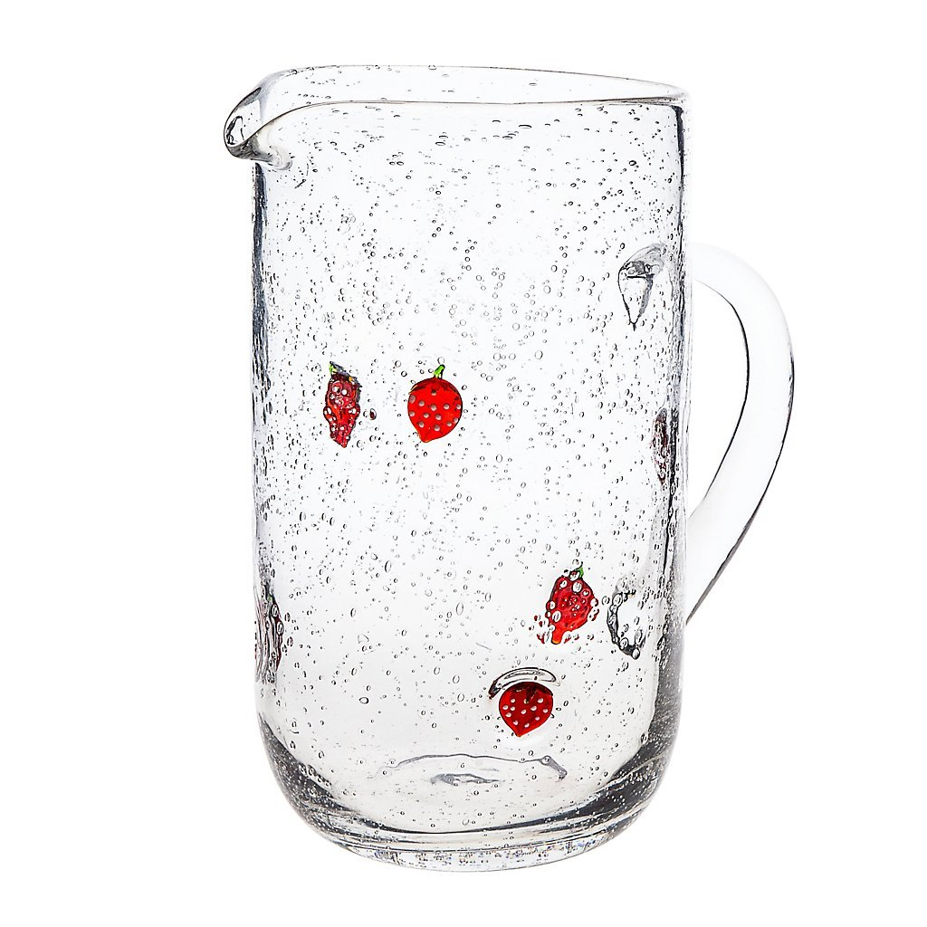 Pitcher Erdbeere 1500ml, transparent/red, glass, (GERMAN CRYSTAL powered by CRISTALICA) by GERMAN CRYSTAL