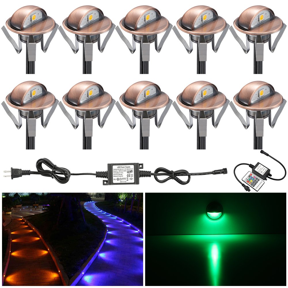 FVTLED Pack of 10 Multi-color Low Voltage LED Deck lights kit Φ1.38'' Outdoor Garden Yard Decoration Lamp Recessed Landscape Pathway Step Stair RGB LED Lighting, Bronze