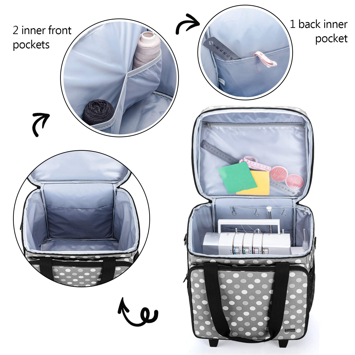 Serger Case with Accessories Storage Pockets Gray Dots Fit for Most Standard Serger Sewing Machines Luxja Overlock Sewing Machine Case with Detachable Trolley Dolly