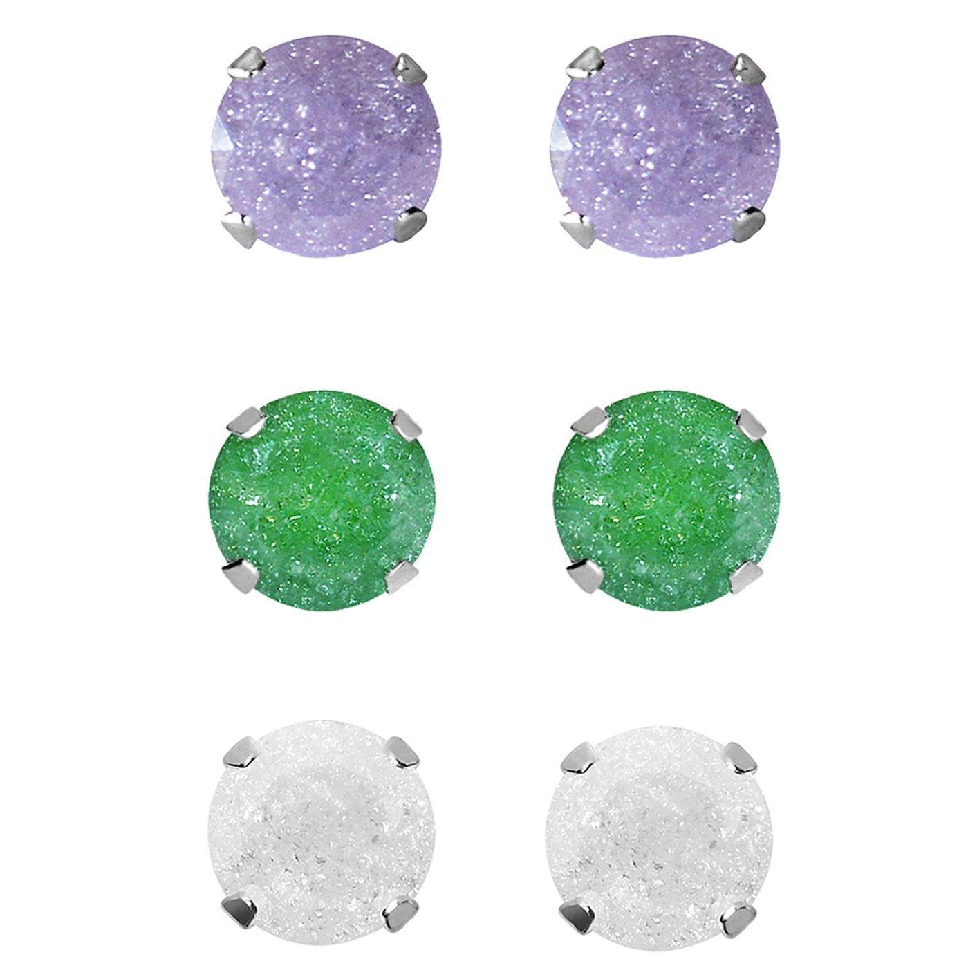 Green Ice Cubic Zirconia Stud Earrings Set of 3-pair Sterling Silver 9-mm White Light Purple