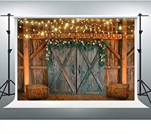 Rustic Barn Backdrop for Farm Theme Party 7x5ft Barn Door Hay Lights Rural Background Western Cowboy Photo Booth Studio Props LSVV853