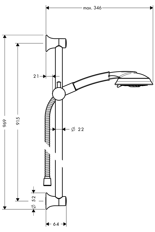 3 tipos de chorro con barra 90 cm Cromo 0,90 cm Hansgrohe 27841000 Raindance Classic Set de ducha