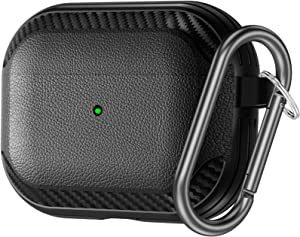 Charlam Case for AirPods Pro 2019, Full Tough Shock-Resistant Protective Cover with Carabiner, Front LED Visible, Sleek Solid Case with Smooth Skin for Apple Air Pods Pro, Matte Black