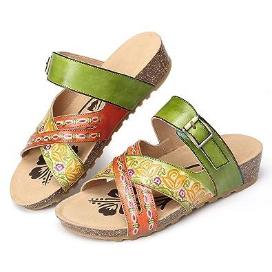 gracosy sandali donna con zeppa scarpe vintage fatte a mano in pelle casual mary janes mocassini scarpe estive piatte fiori all'aperto bohemien