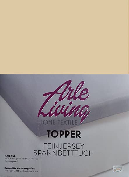 Topmatras 180 X 200 Cm.Arle Living Topper Fine Jersey Fitted Sheet 180x200 200x200 Cm