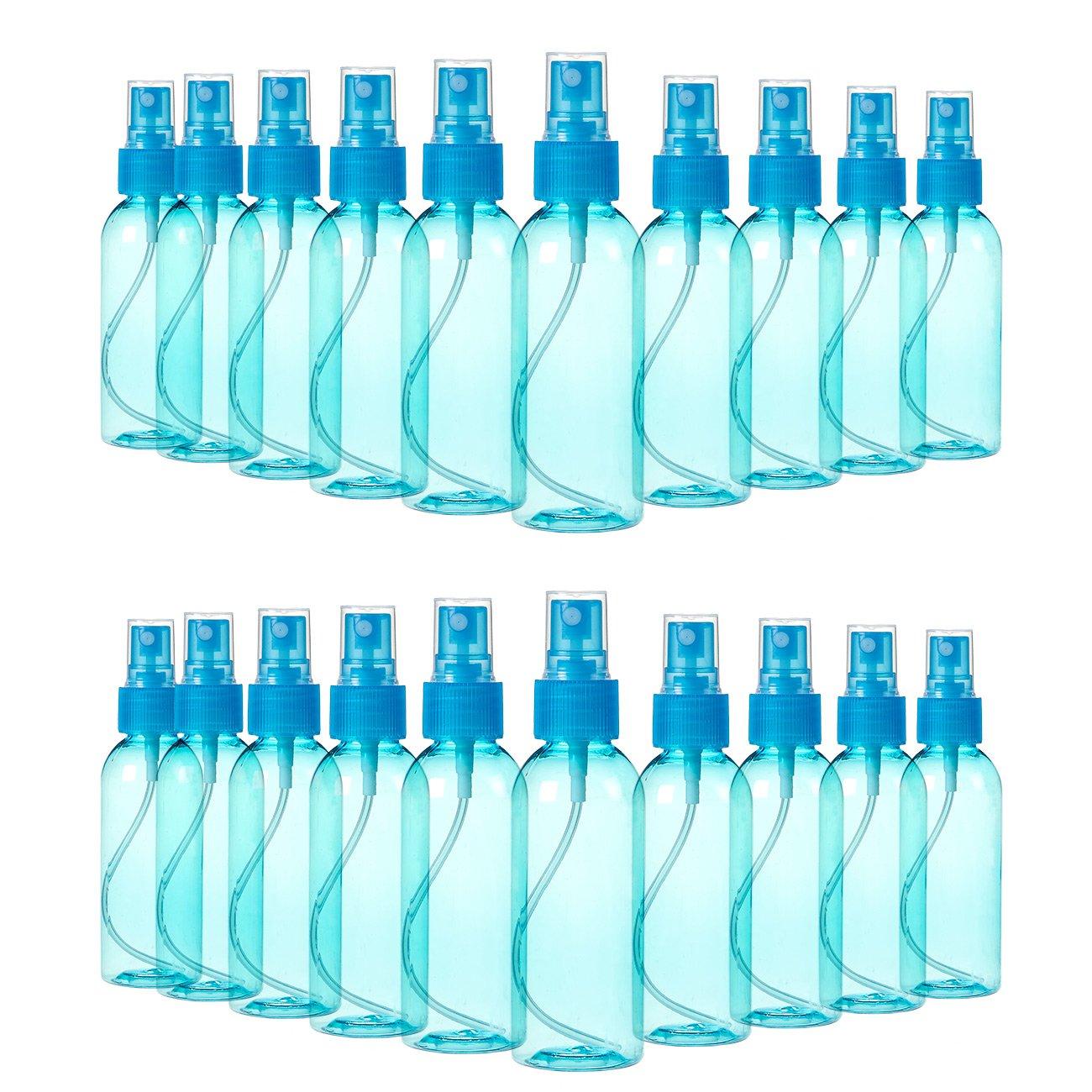Juvale Fine Mist Mini Spray Bottles Atomizer Pumps Essential Oils, Travel, Perfumes, More - Empty Tinted Blue Plastic Bottles - Refillable & Reusable - 20 Piece Set - 80ml