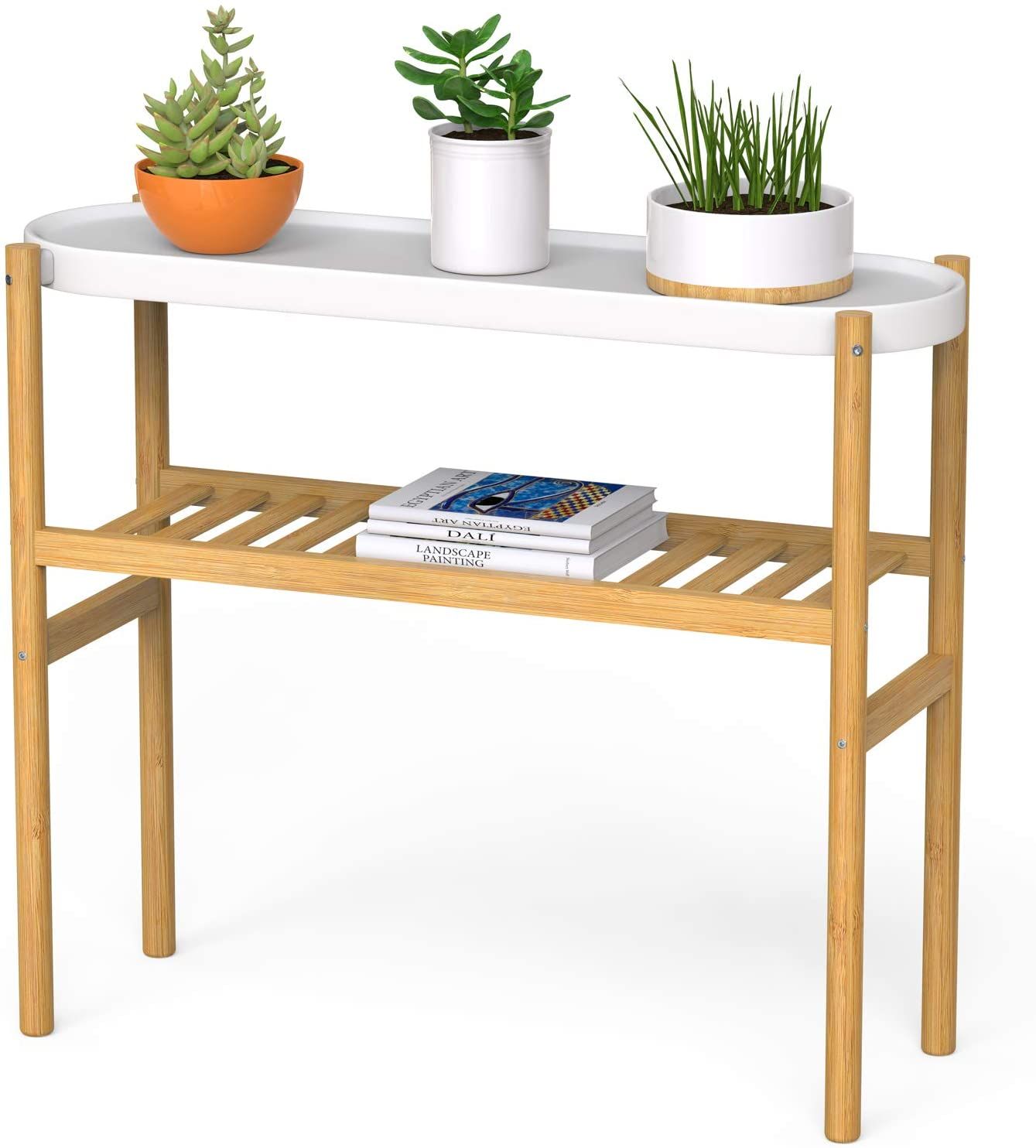 Bamboo Plant Stands Indoor, 2 Tier Tall Plant Stand Holder & Plant Display Shelves for Outdoor Garden