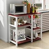 "Dland Microwave Cart Stand 35.4"" Kitchen Utility Storage 3-Tier+4-Tier for Baker's Rack & Spice Rack Organizer Workstation Shelf,Walnut"