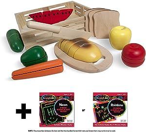 Melissa & Doug Cutting Food Set: Wooden Play Food Set + Free Scratch Art Mini-Pad Bundle [04872]