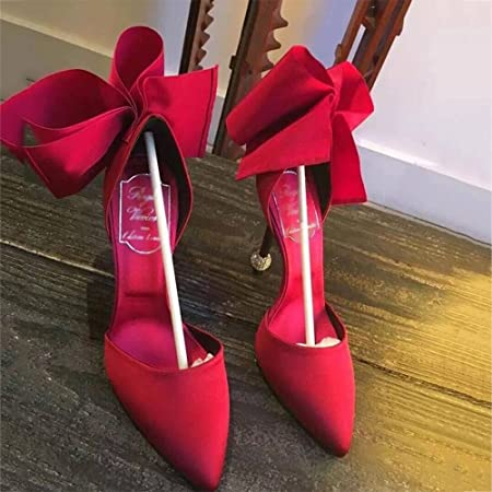 9bb2a22541b Sandals Slope LHA Satin High Heels Women s Shoes Bowknot Pointed Stiletto  Spring And Summer Red Black Blue (Color   Red