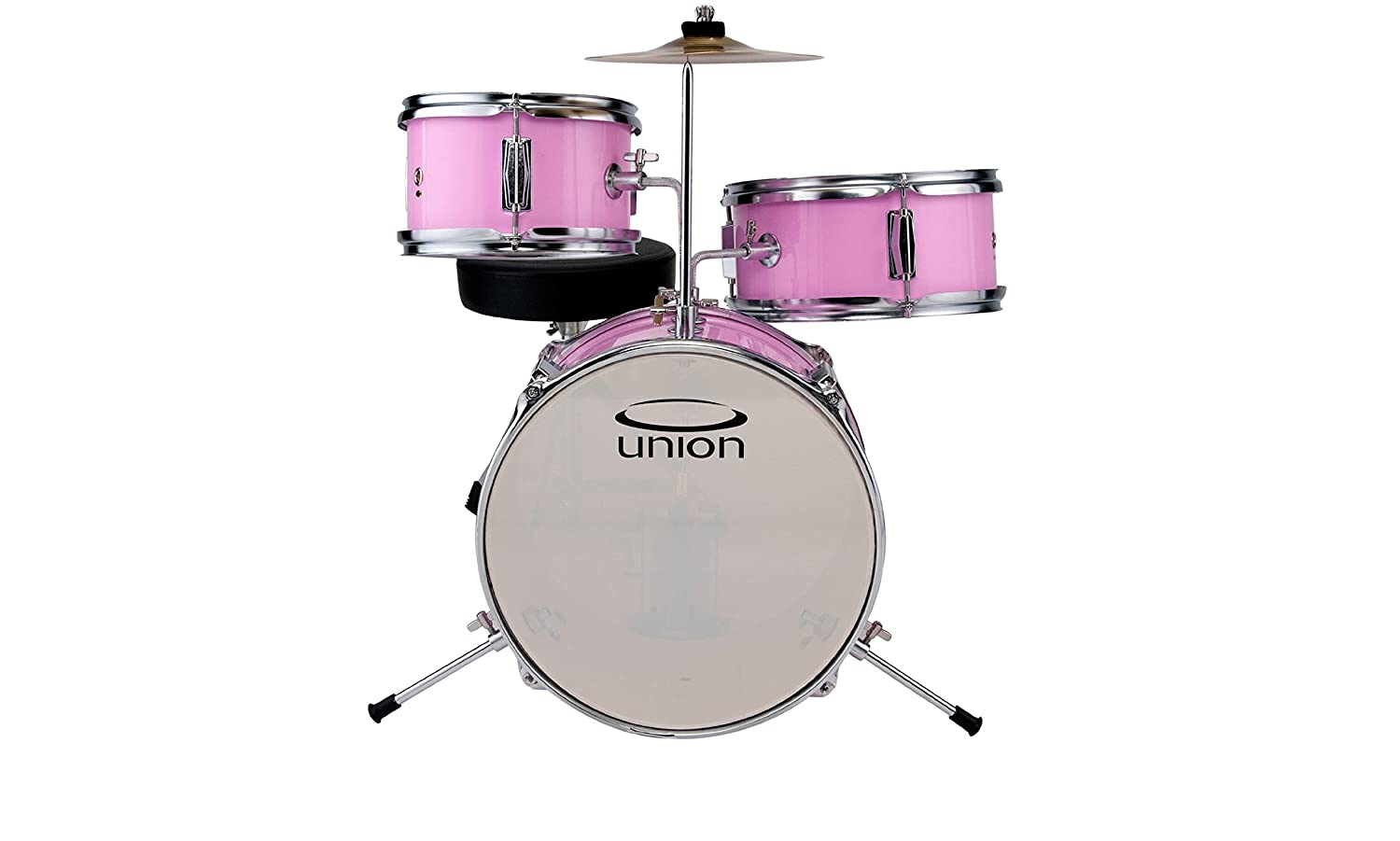 Union DBJ3067(MR) 3-Piece Toy Drum Set with Cymbal and Throne-Metallic Red