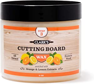 CLARK'S Cutting Board Finish Wax, Enriched with Lemon & Orange Oils ,Made with Natural Beeswax and Carnauba Wax,Butcher Block Wax, (6 ounces)