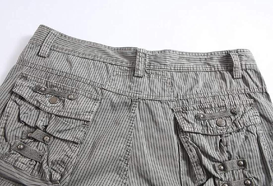 MK988 Mens Loose Casual Stripe Print Outdoor Cropped Multi-Pockets Cargo Shorts