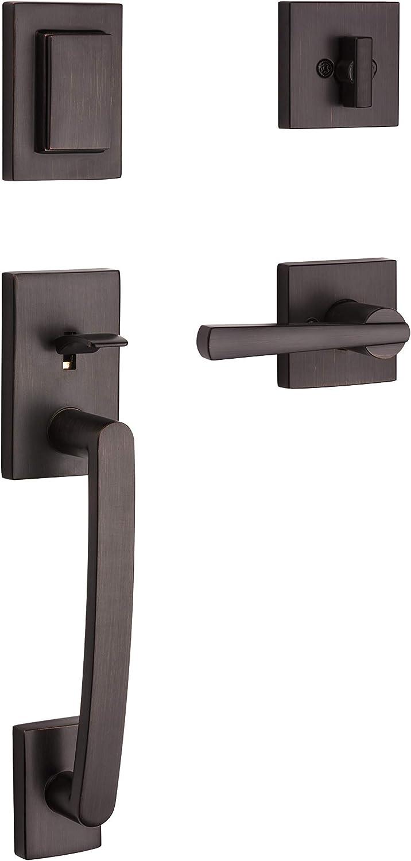 Baldwin Spyglass Single Cylinder Front Door Handleset Featuring SmartKey Security in Venetian Bronze, Prestige Series with a Modern Contemporary Slim Door Handleset and Square Lever