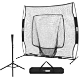 VIVOHOME 7 x 7 Feet Baseball Backstop Softball Practice Net with Strike Zone Target Tee and Carry Bag for Batting…