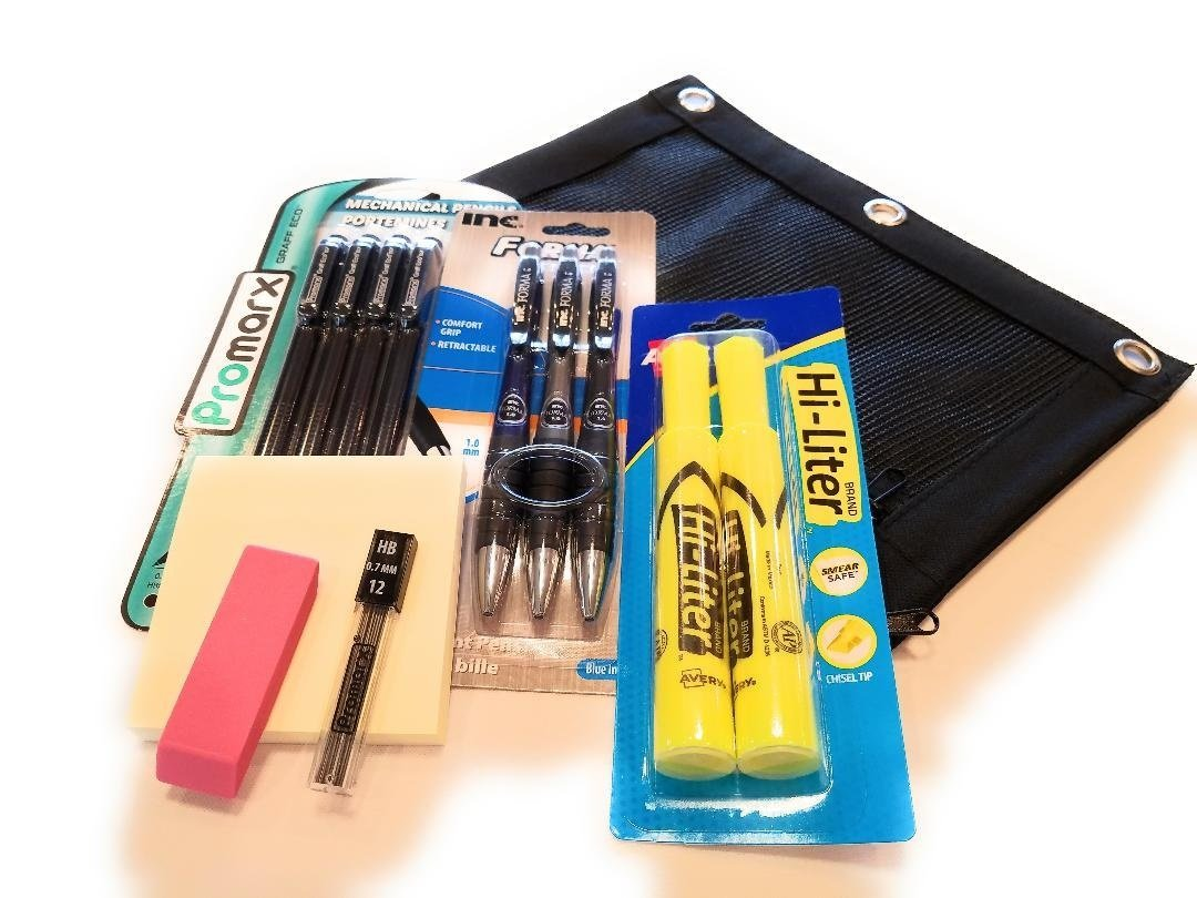 Pre-Filled Pencil Pouch for School Or Office Bundle with Ball Point Pens, Hi-liters, Mechanical Pencils (13 Items)
