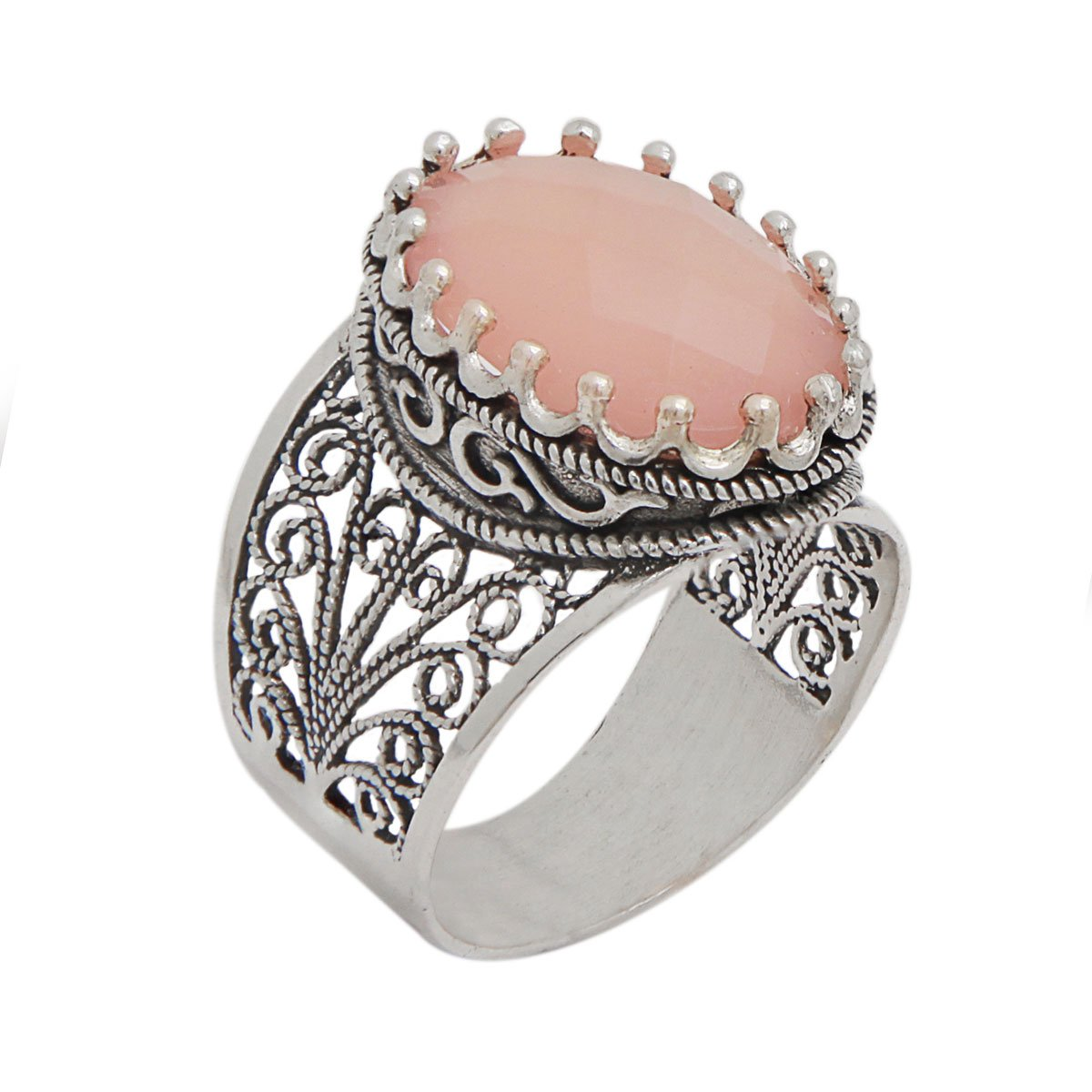 925 Sterling Silver Pink Agate Oval Filigree Ring (Size 6 - 11) (8) by Ottoman Silver Collection