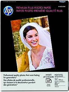 HP Premium Plus Photo Paper, High Gloss, (60 Sheets, 5 x 7 Inches borderless)