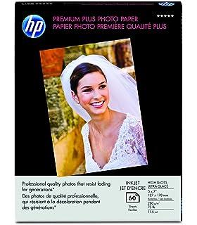 HP Premium Plus Photo Paper, High Gloss, (60 Sheets, 5 x 7