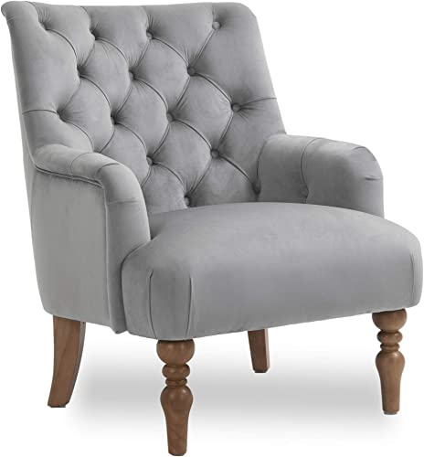 Modern Accent Velvet Living Room Chair Single Sofa Comfy Upholstered Armchair Living Room Furniture Gray