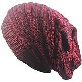 Outflower Copricapo moda autunno - inverno, cappello lavorato a maglia a due colori piegati Cappucci caldi Cappellino in lana hip hop, a, 42-65cm