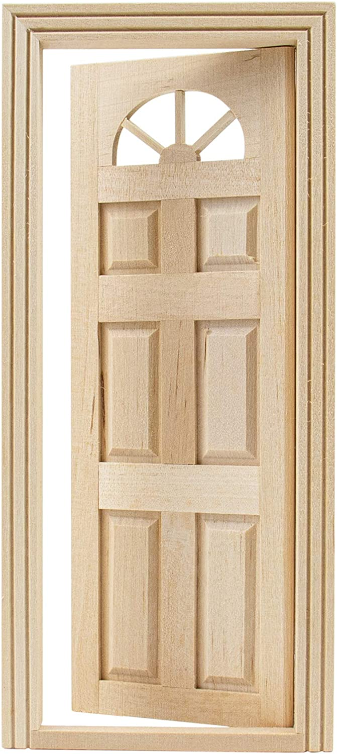 AUEAR, 1:12 Dollhouse Miniature Furniture Unpaint Wooden Doors for DIY Scene Doll Home Furniture Craft (6 Panel Style B)