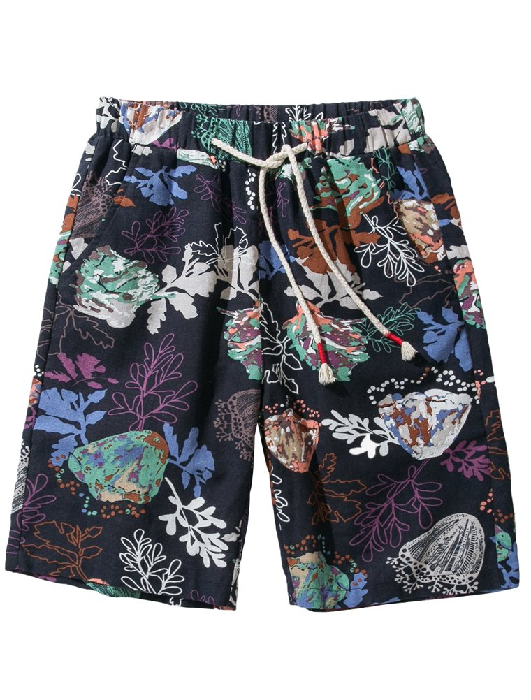 Vogstyle Men's Flat Front Shorts Casual Colorful Flower Printing Boardshorts Summer Beach Shorts XL