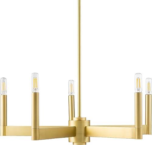 Trento Modern 5 Light Chandelier – Satin Brass w Bulbs – Linea di Liara LL-CH424-3SB