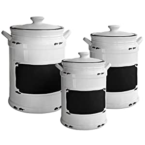 """American Atelier 1562159-RB Vintage Canister Set 3-Piece Ceramic Jars Chic Design With Lids for Cookies, Candy, Coffee, Flour, Sugar, Rice, Pasta, Cereal & More, 21x8x11"""", White/Black"""