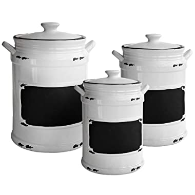 American Atelier 1562159-RB Vintage 3 Piece Ceramic Canister Set with Lids, 21x8x11, White/Black