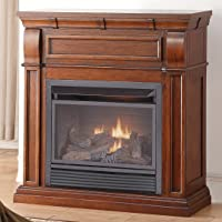 Duluth Forge Dual Fuel Vent Less, 26,000 BTU, T-Stat Control, Chestnut Oak Finish Gas Fireplace,