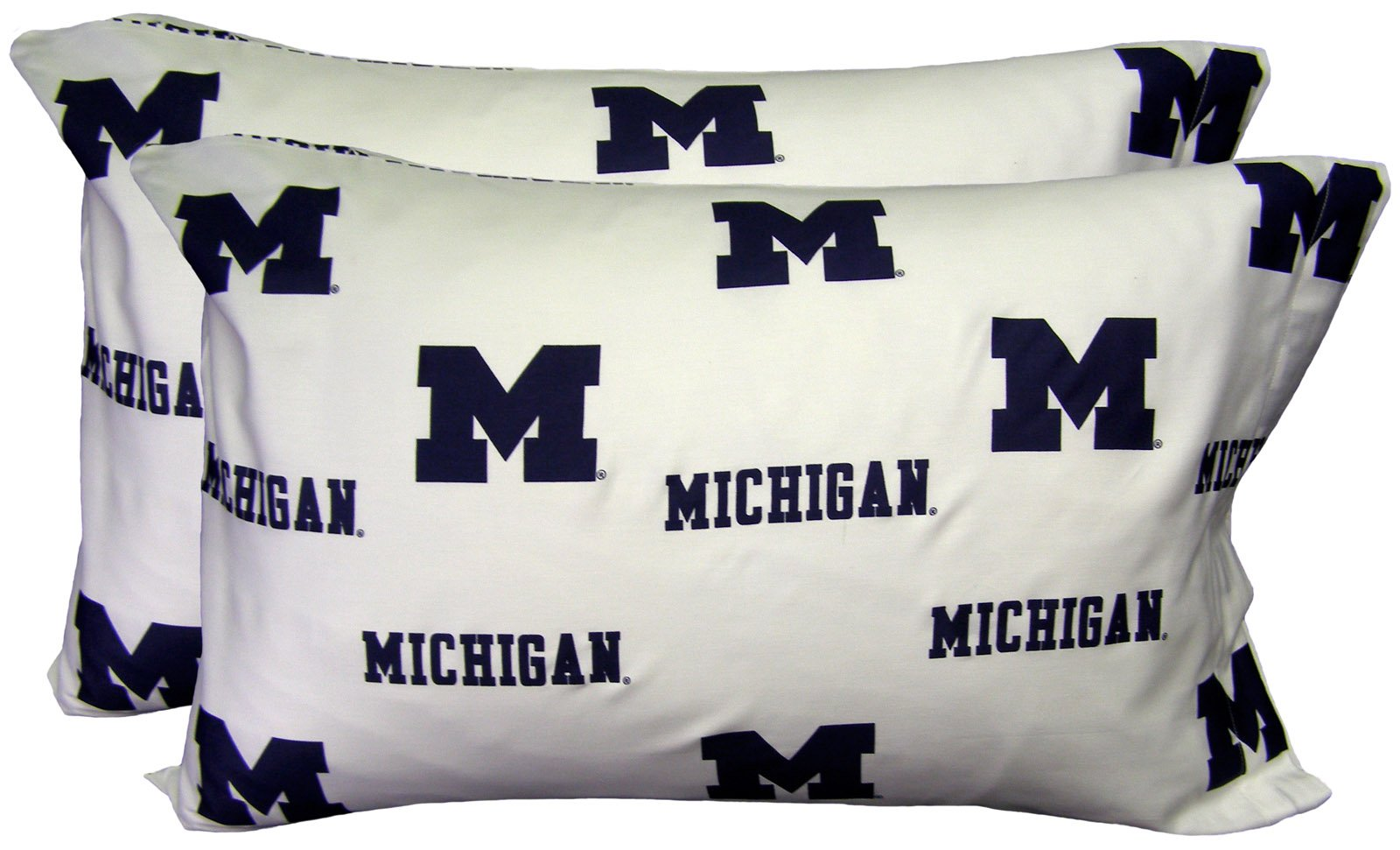 College Covers Michigan Wolverines Pillowcase Pair - White (Includes 2 Standard Pillowcases)