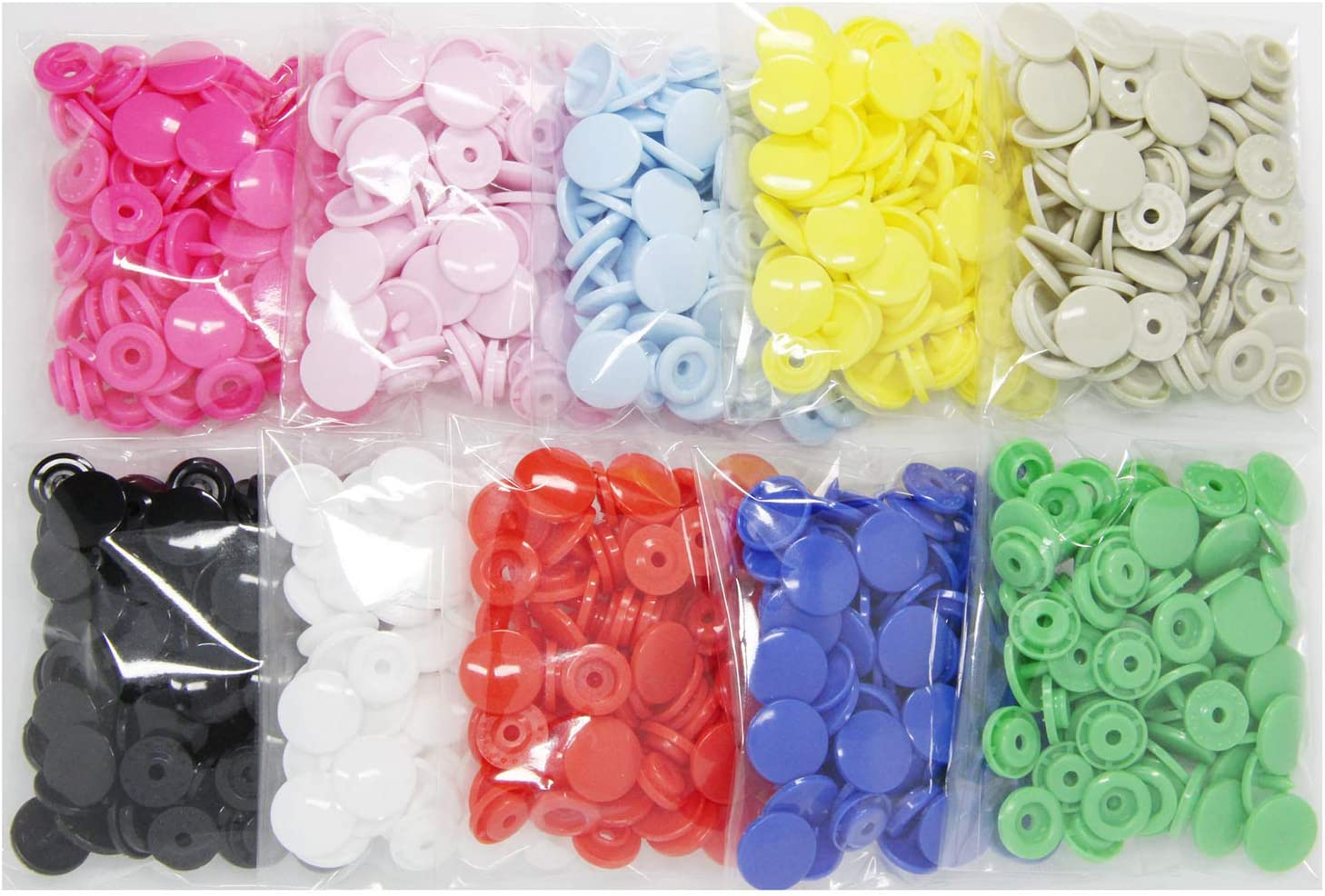 BetterJonny Size 20 T5 Glossy Plastic Resin Fasteners No-Sew Buttons for Baby Clothes Diaper//Bibs//Unpaper Towels//Nappies//Buttons//Mama Pads 150 Sets KAM Snaps Heart Shaped with Storage Box