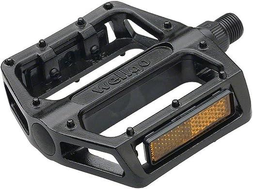 WELLGO MTB BMX Aluminum Cost-effective Bicycle Bearing Bike Pedals 9//16/'/' Black