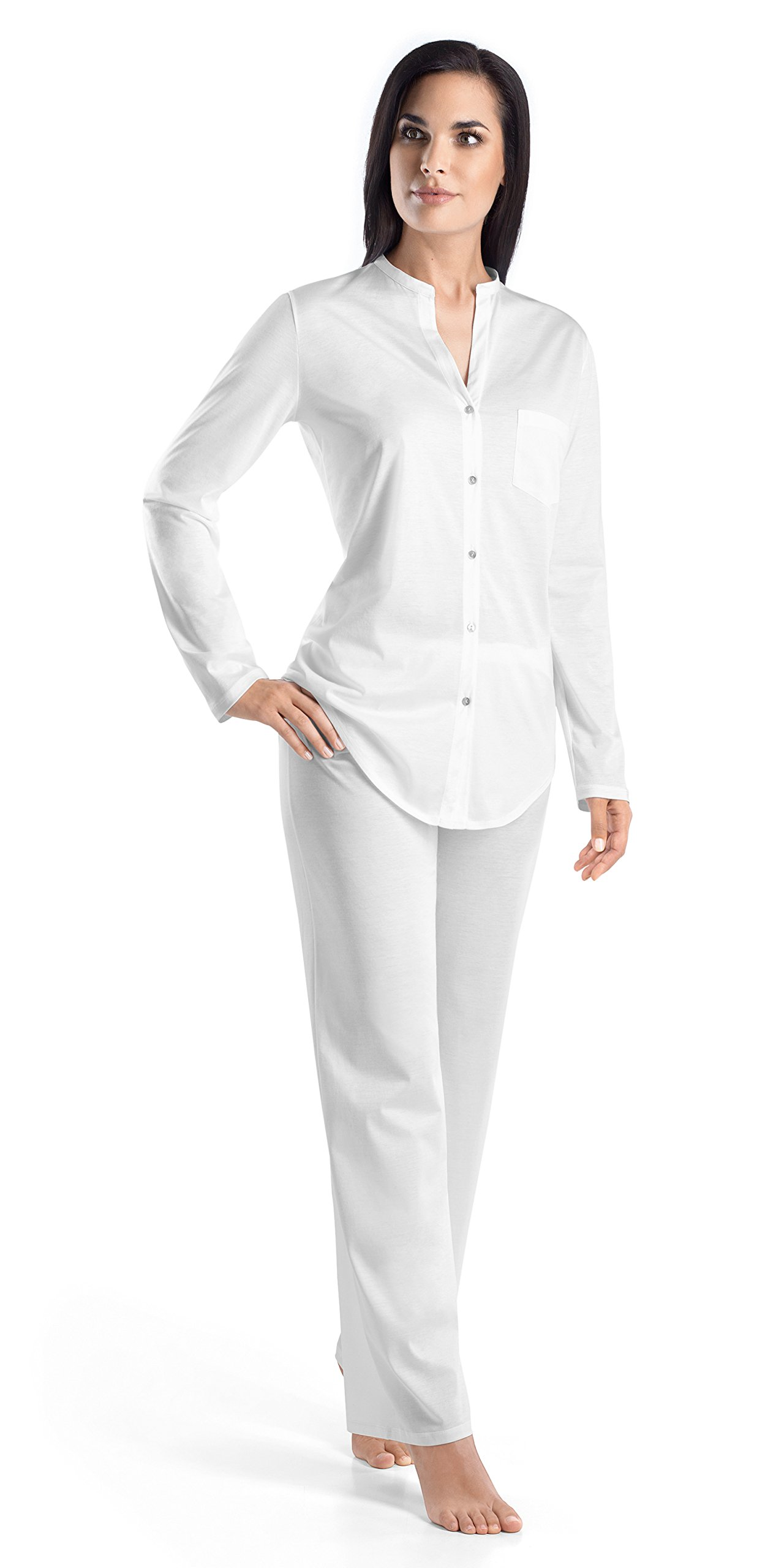 Hanro Women's Cotton Deluxe Long Sleeve Button Front Pajama, White, X-Small