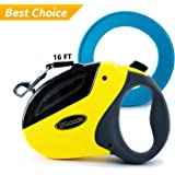 Retractable Dog Leash Yellow – Heavy Duty Dog Leash – Long 16 ft for Large Medium Small Dogs – Up to 110 lbs - Tangle Free – FREE BONUS blue Frisbee - By DGOODS