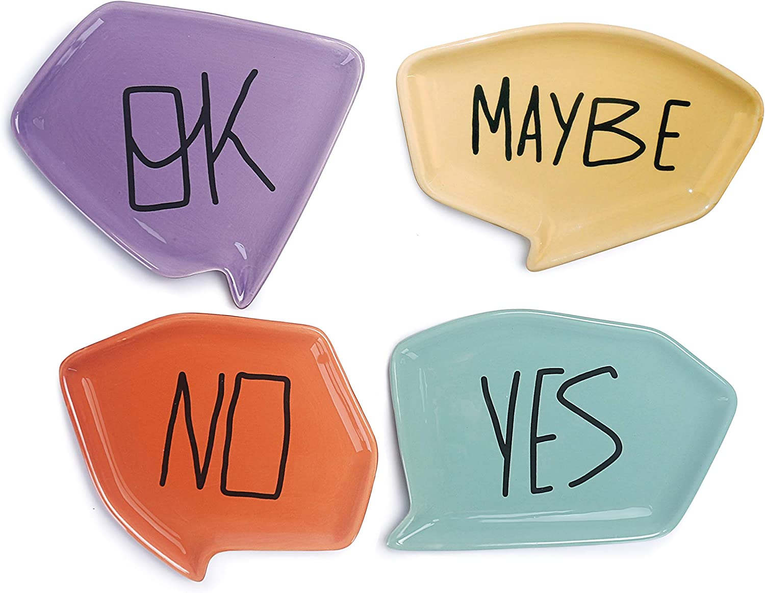 Bico Yes No Maybe Ok Ceramic Appetizer Plates Set of 4, Microwave & Dishwasher Safe, For Dessert, Fruit, Cookie