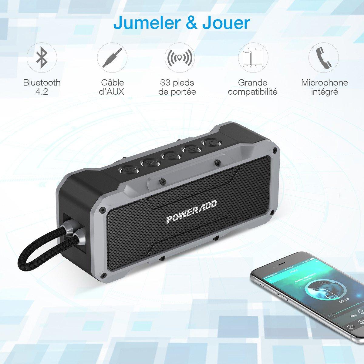 POWERADD Musicfly Enceinte Bluetooth Etanche Haut Parleur Portable Basse Perfomante Niveau Imperméable IPX7 Connexion Sans Fil et Câble AUX avec Fonction Main Libre pour Android, iPhone et Autres Appareils Bluetooth