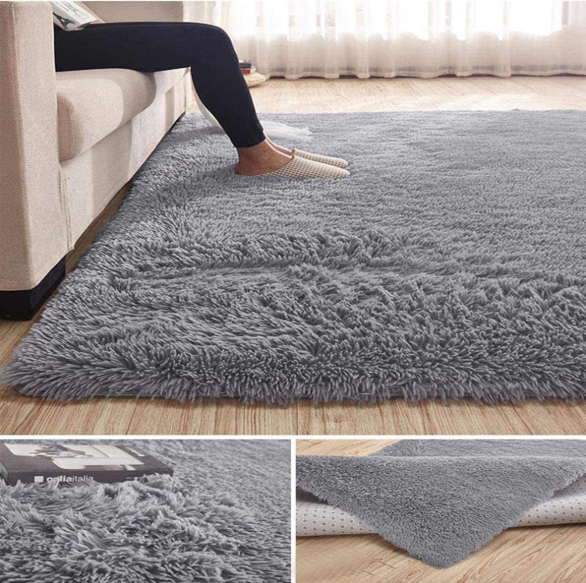 Super Soft Large Shaggy Fur Area Rug Grey for Bedroom Dorm Nursery Kids Boys Room Modern Indoor Home Decorative Livingroom Carpet Plush Fluffy Comfy Accent Floor Rugs 4x6 Feet