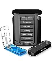 TRAVELFANCY® Tablettenbox [7 Tage je 4 Fächer] und Tablettenteiler [Modell 2019] mit Befüllungsplan und Medikamentenbox Anleitung