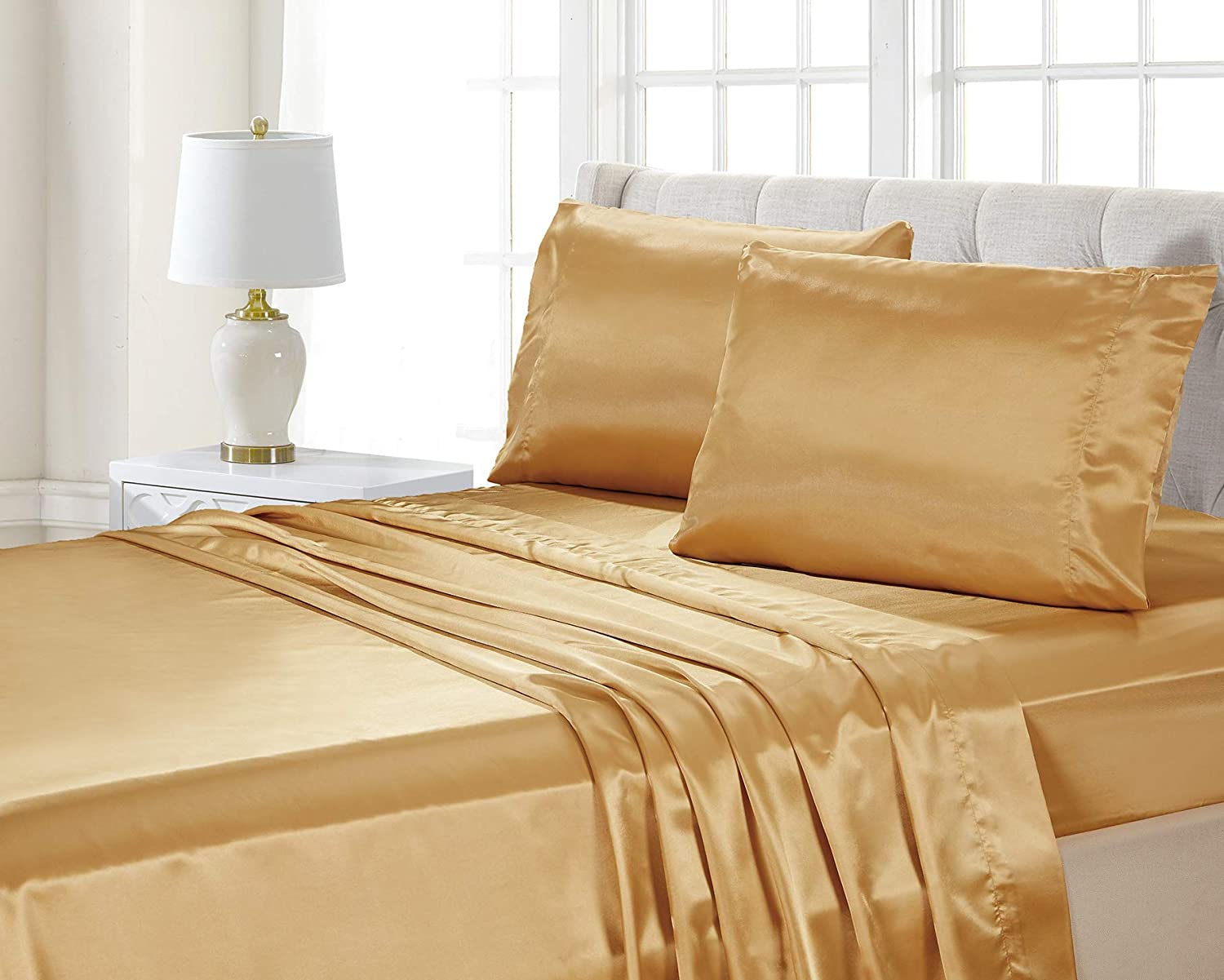 4-Piece QUEEN size Deep Pockets SOLID GOLD Soft Silky Charmeuse Satin Sheet Set Fitted and Pillow Cases Flat