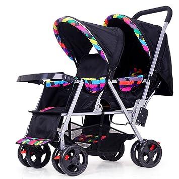 Bicicleta para Niños Cochecito Doble Cochecito De Bebé Doble Puede Sentarse Plegable Plegable Carrito De Bebé Doble Ligero para Recién Nacido,Black: ...