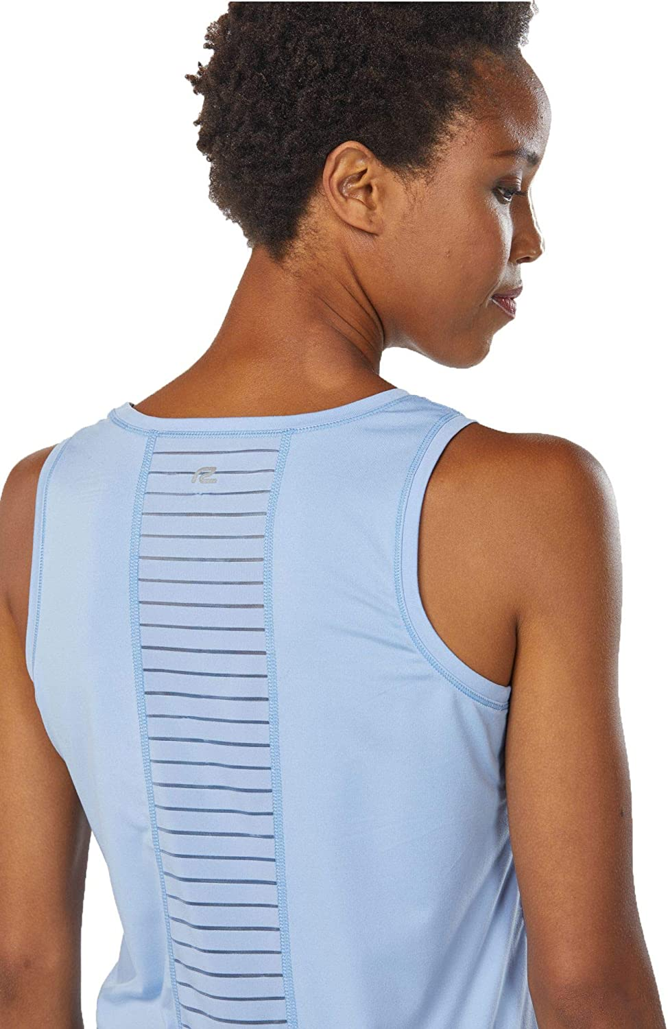 Blocked R-Gear Womens Workout Tank Top with Shadow Striped Mesh Backing for Fitness and Leisure