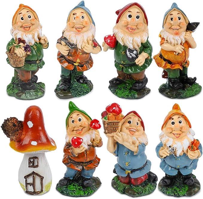 Mini juego de gnomos de jardín de hadas siete enanitos Estatua con setas y herramientas (7pcs): Amazon.es: Jardín